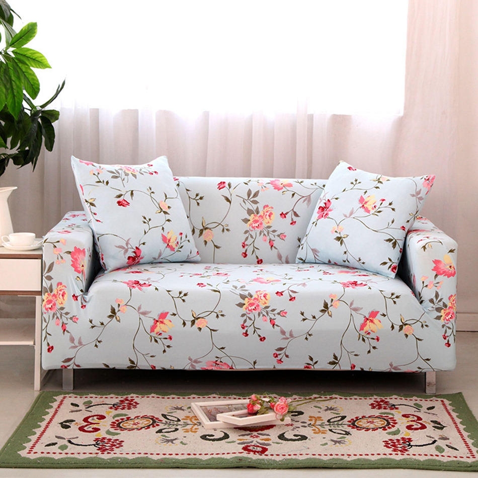 Blue flowers print stretch sofa cover for living room polyester elastic flowers couch sofa cover multi
