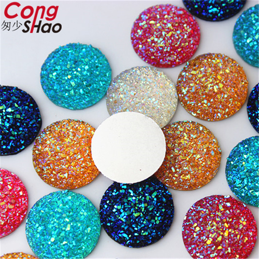 Cong Shao 80PCS 18mm AB Colorful Round Shape flatback Resin Rhinestone trim  stones and crystals DIY c6a4d5c37eff