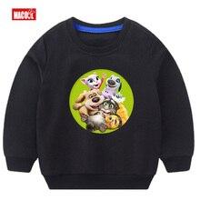 Girls Casual Autumn Cartoon Sweatshirt Long Sleeve 3T-8T Can Speak Cat Game Printed Hoodies Tracksuit Outerwear Sweatshirt 3-14y lupin iii 3 cartoon fela per uomo e bambino hoodies sweatshirt