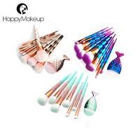 HappyMakeup 11Pcs/Set Rose Gold Diamond Makeup Brushes Set Mermaid Fishtail Foundation Powder Cosmetics Brush Rainbow Eyeshadow