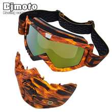 Bjmoto Motorcycle Mask Goggles Windproof Motocross Outdoor Riding Skiing Detachable Mouth Filter Goggle motorbike goggle glasses
