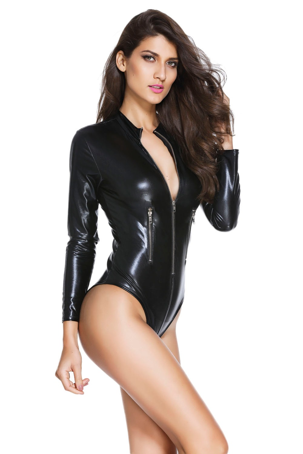 Sexy girls black leather body suits apologise, but