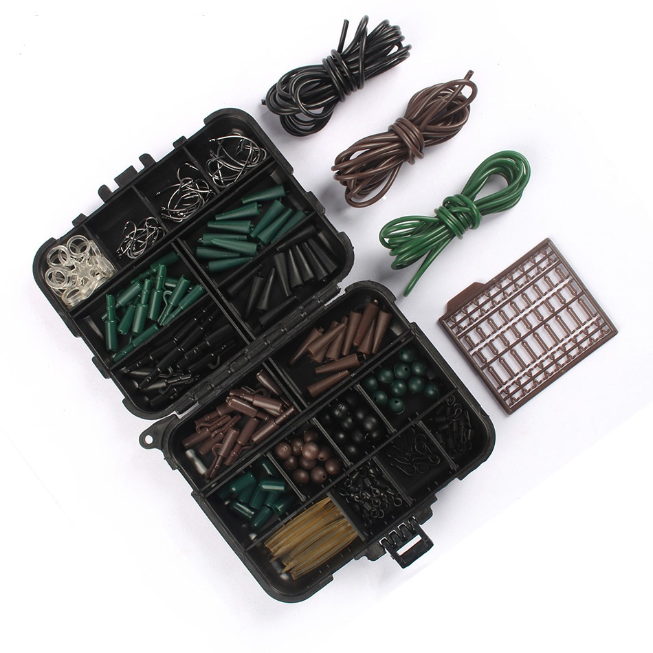 <font><b>Carp</b></font> <font><b>Fishing</b></font> <font><b>Accessories</b></font> Tackle Boxes with Boilie Bait Stops Fishhooks Swivels Connector Hook Sleeve Beads Stoppers Assorted