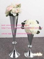 10ピース/シルバーフラワー花瓶/花ヨーロピアンスタイルの結婚式の装飾家具の記事/ウェディングセンターピース/フラワースタンド