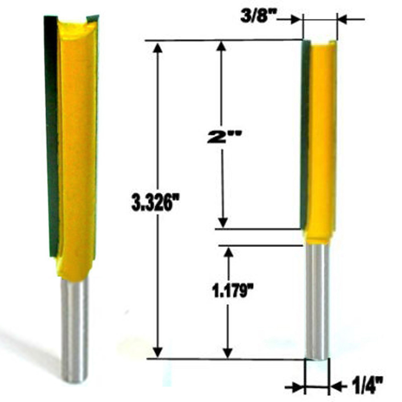 1pc 1/4 Shank Long Straight Router Bit 2 Flute 3/8Wx2H Woodworking Cutter For Power Tool 2 pc 1 4 shank 1 2 3 8 rabbeting