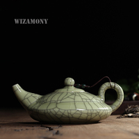 New Hot Sale Crackle Glaze Ge Kiln Longquan Celadon 300ml Zisha Ceramics Arts Flat Teapot Porcelain yixing Clay Antique Teapot