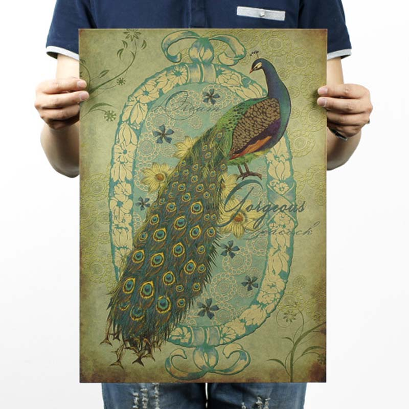 LAITANG Vintage Posters Retro Poster Kraft Paper Wall Sticker Home Decor Frameless Decorative painting Hand Painted Peacock /B