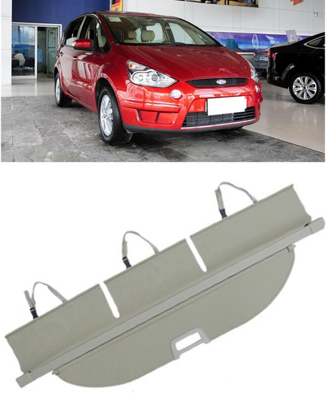 Car Rear Trunk Security Shield Shade Cargo Cover For Ford S-MAX SMAX 2007 2008 2009 2010 2011 2012 2013 2014 (Black beige) car rear trunk security shield cargo cover for lexus rx270 rx350 rx450h 2008 09 10 11 12 2013 2014 2015 high qualit accessories