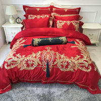Red Wedding Luxury Long Staple Cotton Embroidery Bedding Set Duvet Cover Bed Linen Bed Sheet Pillowcase