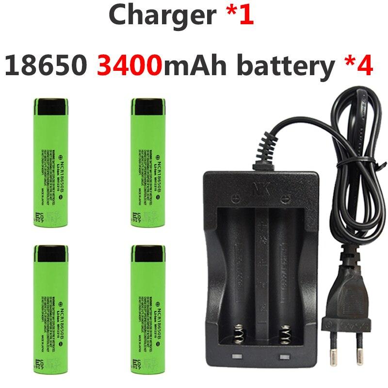 4 pièces 3.7 v 3400 mah 18650 Lithium Rechargeable Li-ion batterie pour Panasonic + 1 * NK-809 double chargeur pour lampe de poche LED batterie externe