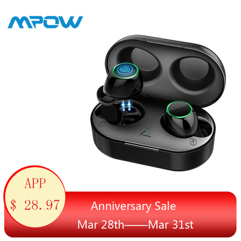 Mpow T6 Wireless Earbuds Unique Touch Control Bluetooth 5.0 Headphones 21H Playtime 3D Stereo Earphones With Mic&Charging Case