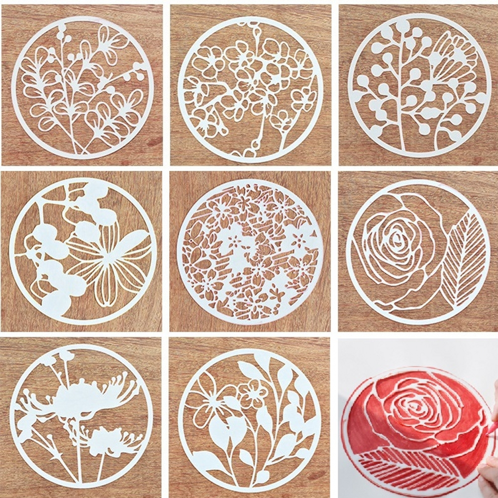 8Pcs/Set 16.5cm Window Flowers Round DIY Layering Stencils Painting Scrapbook Coloring Embossing Album Decorative Template