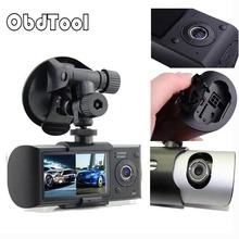 Buy online ObdTool Dual Camera Car DVR R300 with GPS and 3D G-Sensor 2.7″ TFT LCD X3000 Cam Video Camcorder Cycle Recording Digital Zoom