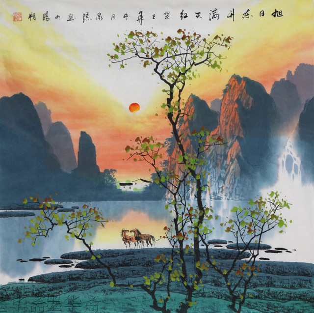 free shipping oriental asian original traditional chinese landscape