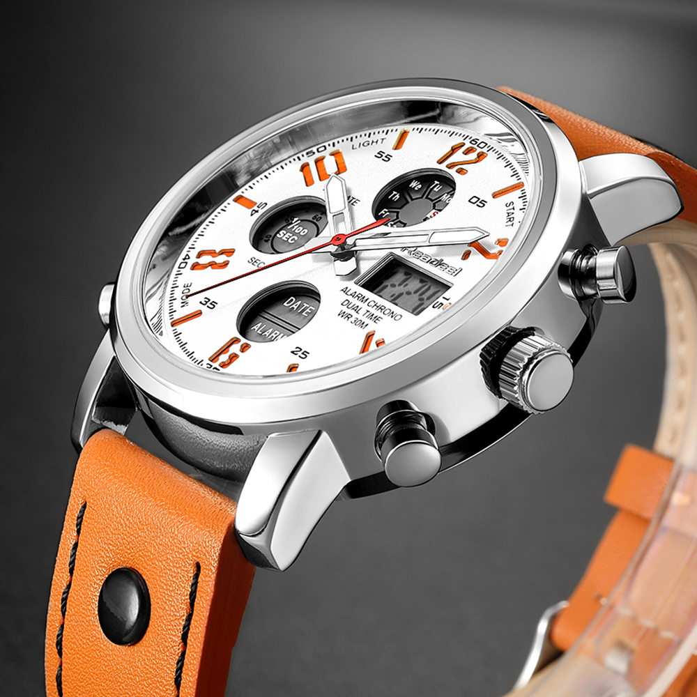 все цены на Readeel Brand Led Quartz Sport Watches Men Analog Digital Dual Display Watch Clock Genuine Leather LED Waterproof Man Wristwatch онлайн