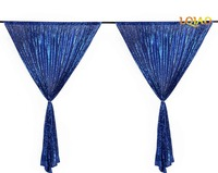 Sequin Curtain Backdrop 2 Panels 4x7ft Sparkly Royal Blue Sequin Window Curtain Backdrop Background Christmas Wedding Decoration