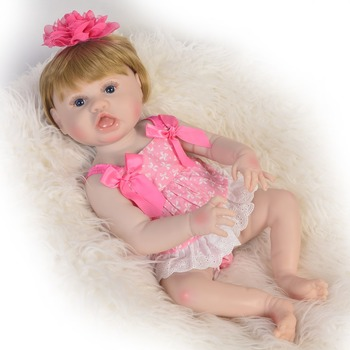 55cm New Silicone Reborn Baby Doll Toys Unique open mouth Newborn Girl Baby Doll boy Birthday Gift Bathe  DIY Toy bebe reborn