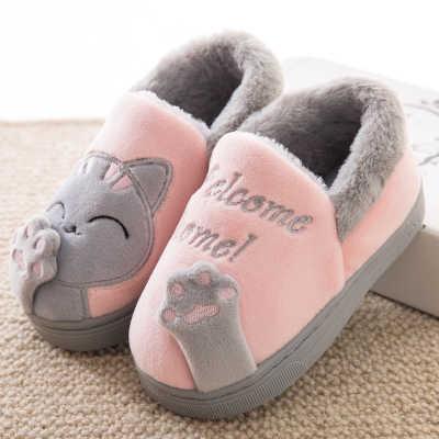 04667e599 ... Теплый кот Женская зимняя обувь Домашние тапочки комфорт домашняя обувь  для Для женщин плюс домашняя обувь ...