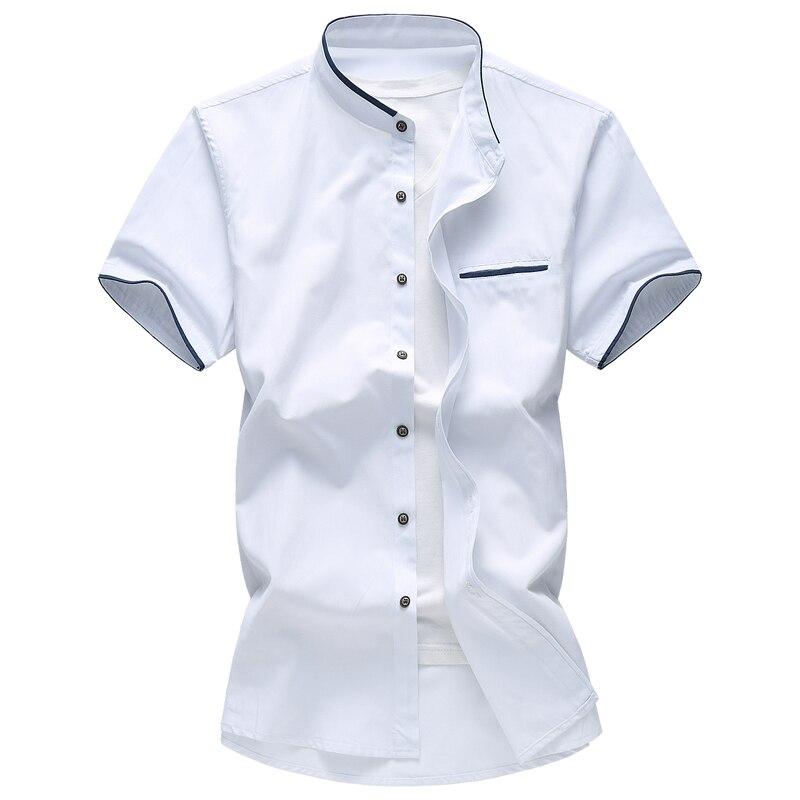 2019 Summer Short Sleeve Shirt Men Business Leisure Mens Shirts Large Size 7XL Slim High Street ShirtYouth Man Shirts