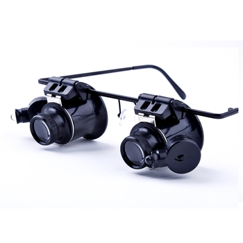Headband Glasses Magnifier Magnifying Glass With LED Lights 20X Illuminated Magnifier Loupe Watch Repair Lamp 5 trade loupe magnifying glass with led lamp pocket magnifier portable folding keyring