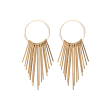 купить Gold Color Irregular Metal Lines Long Geometric Drop Tassel Earrings Exaggerated Circle Pendant Earrings for women дешево