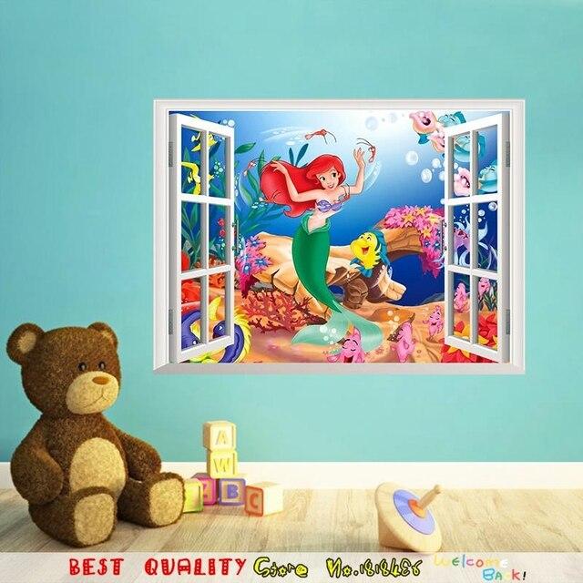 beaut sirne windows mer poissons stickers muraux enfants salle de jeux chambre dcoration de la maison