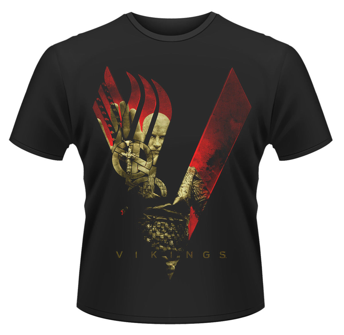 Vikings Blood Sky  T-SHIRT - Nuevo y Oficial T-Shirt Novelty Cool Tops MenS Short Sleeve T shirt Solid Color