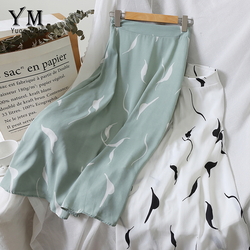 YuooMuoo High Waist Print A Line Skirt 2019 Europe Women Elegant High Waist Chiffon Skirt Summer Female Casual Boho Green Skirt