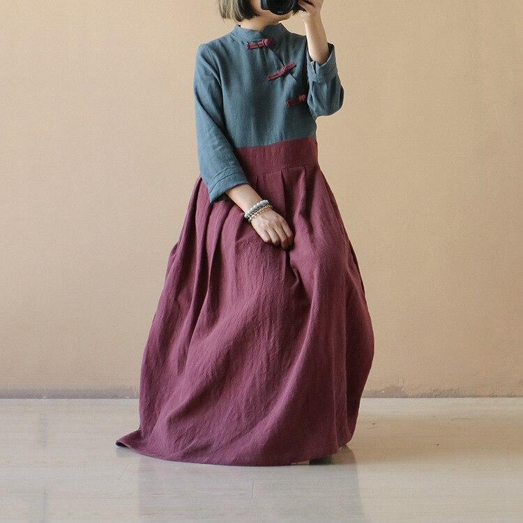 Women Patchwork Linen Dress Vintage Loose Stand Collar Handmade Button Flax Dress Female Autumn Spring Dresses