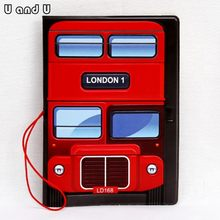 UandU Cartoon Passport Cover for Travel,PU Leather credit card holder with size 14*9.6 cm,passport holder -London Bus(China)
