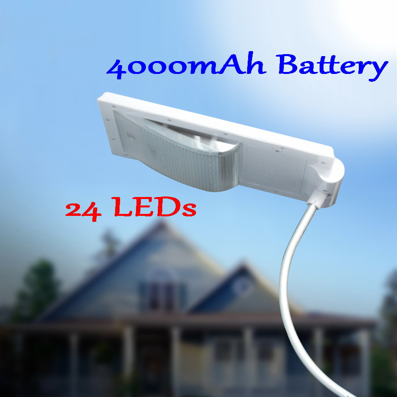 Super Bright 24 LEDs Solar Street Light LED On the Wall Waterproof Outdoor Lighting Solar Lamp with 4000mA Battery solar lawn lamp garden solar light waterproof led street lamp super bright outdoor lawn light