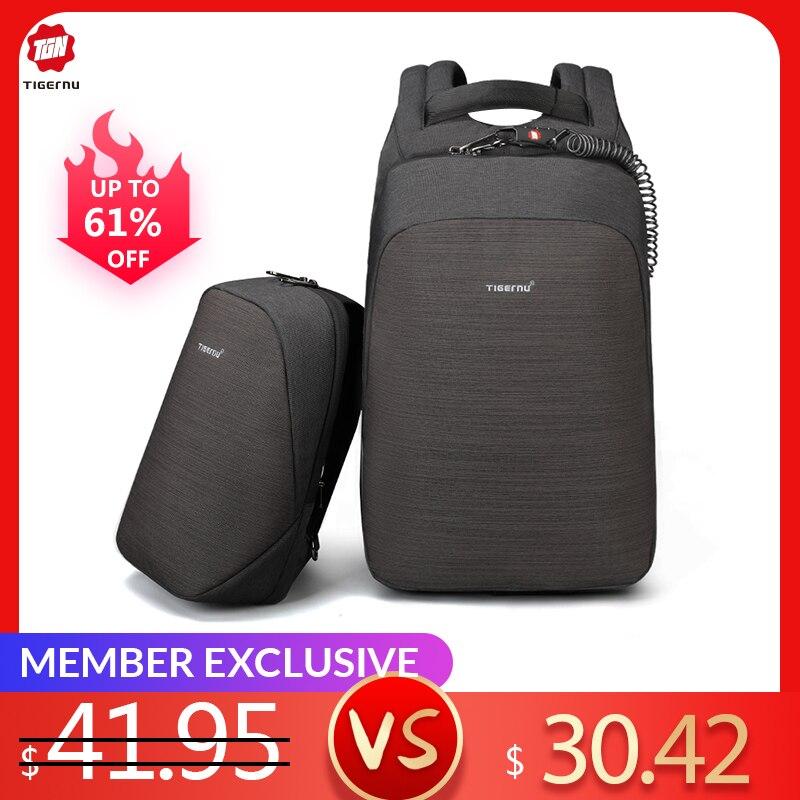 Tigernu anti-vol sac à dos pour ordinateur portable usb charge 15.6 sacs à dos hommes mince étanche école sac à dos sac femmes mâle mochila voyage