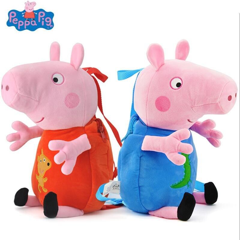 Peppa Pig George pepa Pig Plush Toys Backpack school bag Kids Girls Boys Kindergarten Bag Birthday Kids Christmas doll Toys Gift