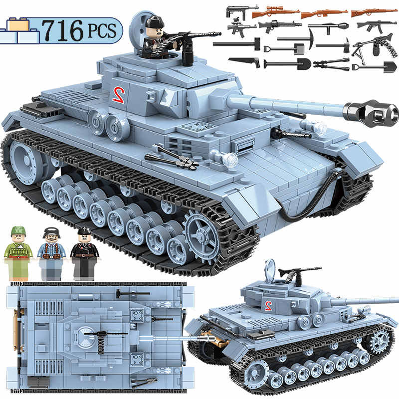 716PCS Military German Tank Building Blocks Compatible legoing Army WW2 City Soldier Police Figures Weapon Bricks Toys for Kids