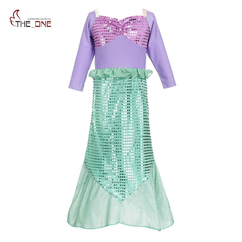 MUABABY Girls Mermaid Dresses Kids Princess Cosplay Costume Children Halloween Birthday Party Fantasy Girl Sequined Ball Gown hot sell fashin wigs mermaid wig adult princess ariel red wavy cosplay costume big