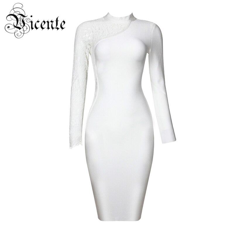 ▻Envío libre! 2018 nueva moda elegante blanco Encaje mangas largas ...
