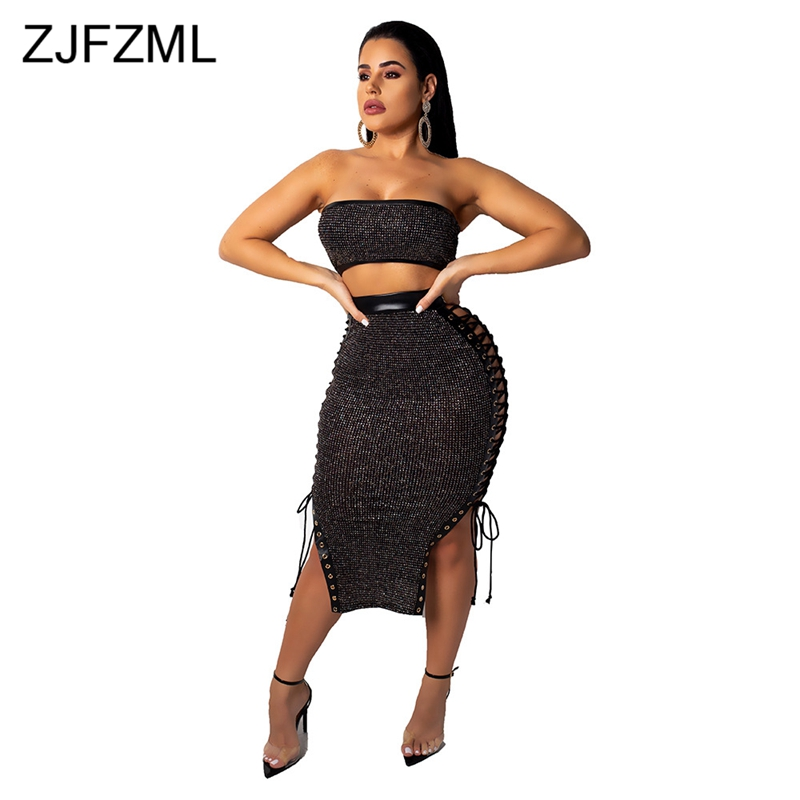 Glitter Sequins Sexy Two Piece Dress Women Black Strapless Side Lace Up Bandage Dress Vintage High Waist Backless Party Vestidos