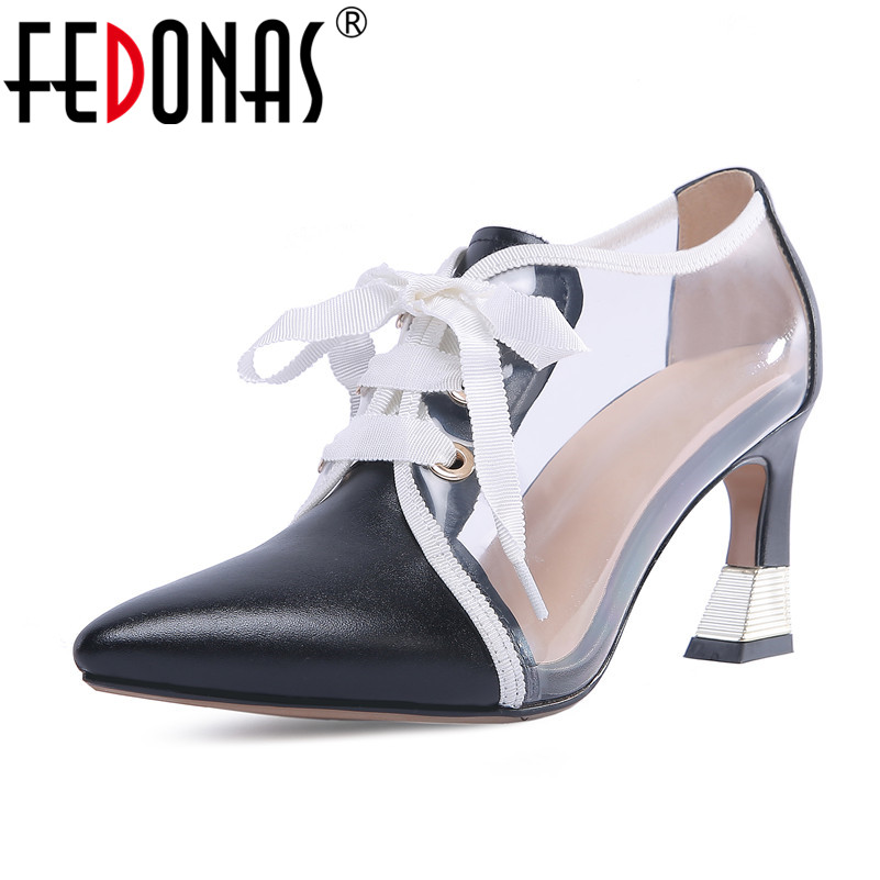 все цены на FEDONAS Brand Women Pumps Genuine leather High Heels Pointed Toe Spring Autumn Party Shoes Woman Elegant Office Pumps онлайн