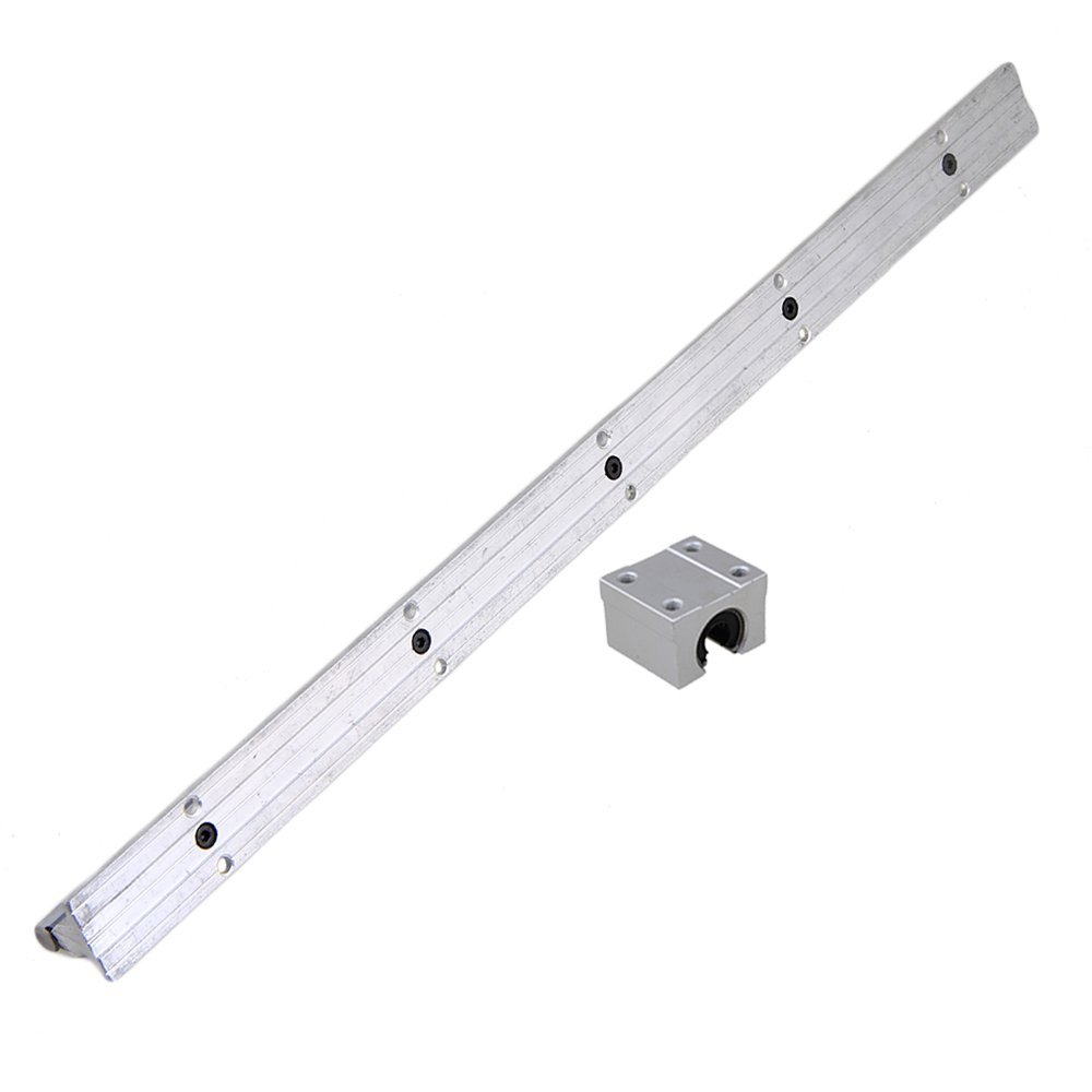 Silver Open Roller Bearing Slide Block & L500mm SBR10 Linear Bearing Rail Guide with 10mm Dia Shaft for CNC Machine Set of 2 silver open roller bearing slide block