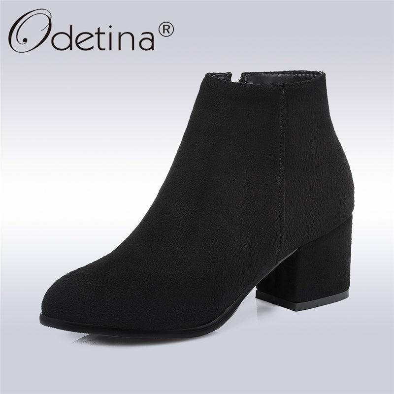 где купить Odetina 2017 Fashion Side Zipper Chunky Heel Ankle Boots Round Toe Faux Suede Block Heel Booties Autumn Winter Shoes Big Size 45 по лучшей цене
