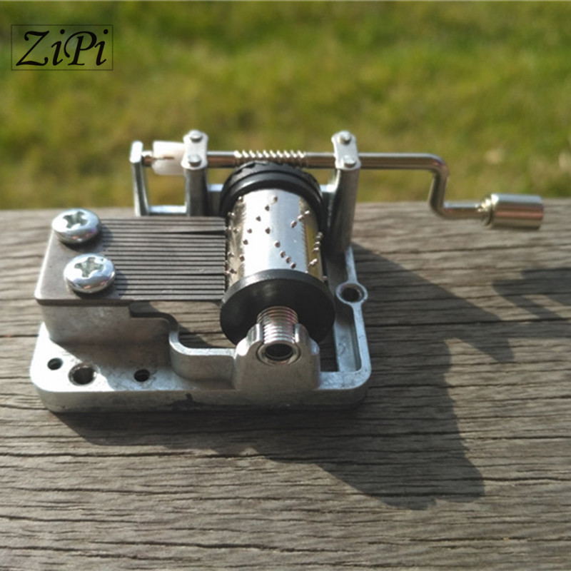 Zipi 25pcs/lot Silver DIY Hand Crank Movements Parts Hurdy-gurdy DIY Music Box Music Movement Set 18 Tones Beautiful Melody Gift