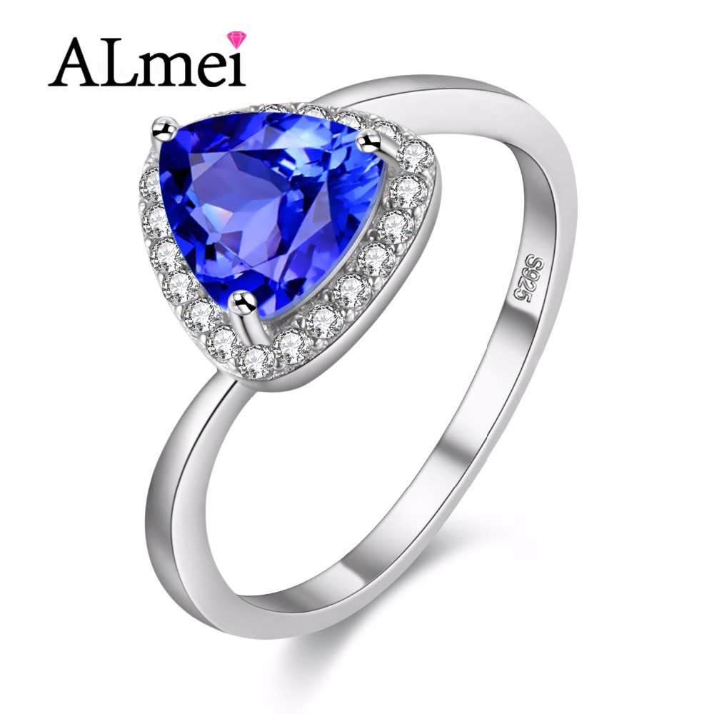 almei natural triangel retro blue topaz wedding rings 925 sterling silver genuine fine jewelry for women - Blue Topaz Wedding Rings