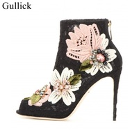 Gullick Elegant Lace Flower Embroidery Ankle Boots Peep Toe Crystal High Heels Short Boots For Women Back Zipper Cage Shoes
