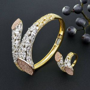 Image 2 - ModemAngel Luxury Brand Super AAA Cubic Zirconia Copper Bangle Ring Set Dress Engagement Party Wedding Bridal Jewelry For Women
