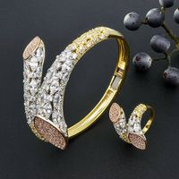 ModemAngel Luxury Brand Super AAA Cubic Zirconia Copper Bangle Ring Set Dress Engagement Party Wedding Bridal Jewelry For Women