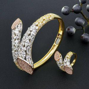 Image 2 - Modemangel Luxe Merk Super Aaa Zirconia Koperen Bangle Ring Set Jurk Engagement Party Wedding Bridal Jewelry Voor Vrouwen