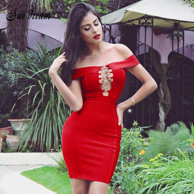e4fb3d11918 wholesale 2017 New arrival red nude black off shoulder strap sexy mini  women sexy sheath celebrity