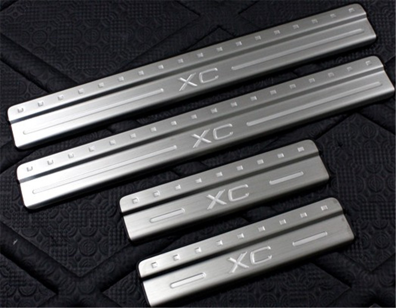 Car styling Door sill scuff plate Guards Sill Cover Trim 4pcs/set For <font><b>VOLVO</b></font> XC60 <font><b>XC</b></font> <font><b>60</b></font> 2009 2010 2011 2012 2013 2014 image