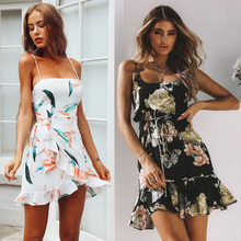 Boho Summer Print Floral Short Mini Dress Women Sexy Sleeveless Straps Strapless Elegant Party Sundress Vestidos bohemian strapless sleeveless floral print women s dress