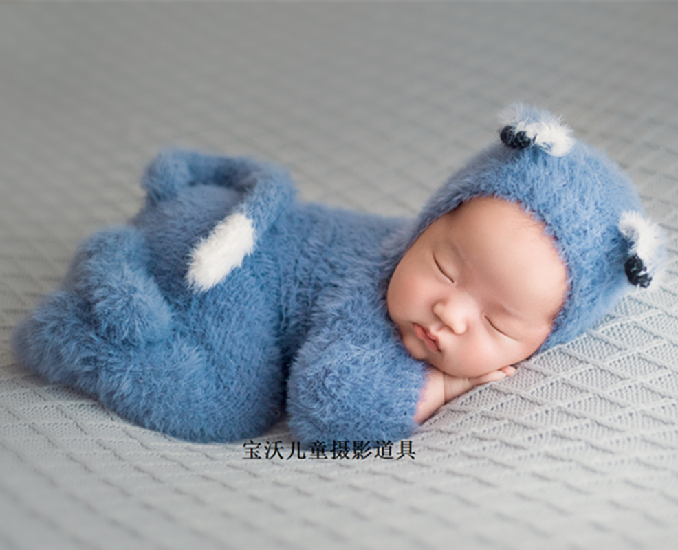 Handmade Baby Hooded Onesie Photography Props Newborn Bear Romper Set Knit Fluffy Teddy Bear Hat And Footed Romper Photo Outfit